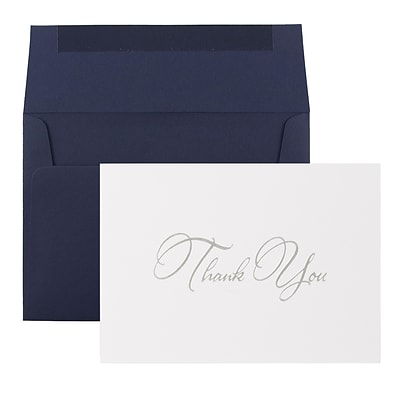 JAM Paper® Thank You Card Sets, Silver Script Cards with Navy Envelopes, 25/Pack
