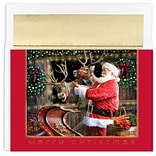 JAM Paper® Christmas Cards Boxed Set, Santa And Reindeer, 18/Pack