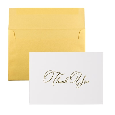 JAM Paper® Thank You Card Sets, White Care with Gold Script & Gold Stardream Envelopes, 25/Pack