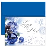 JAM Paper® Christmas Cards Boxed Set, Blue Ornament Swirls, 18/Pack