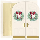 JAM Paper® Christmas Cards Boxed Set, Holiday Doorway Wreaths, 16/Pack