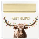 JAM Paper® Christmas Cards Boxed Set, Long Horn String Of Lights, 18/Pack