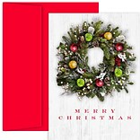 JAM Paper® Christmas Cards Boxed Set, Wreath Photo, 18/Pack