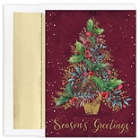 JAM Paper® Christmas Cards Boxed Set, Gold And Burgundy Tree, 18/Pack