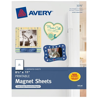 Avery Inkjet Specialty Labels, 8.5 x 11, White, 5/Pack (3270)