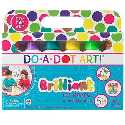 Do-A-Dot Art Washable Art Marker, Sponge Tip Applicator, Brilliant Colors, Pack of 6 (DAD103)