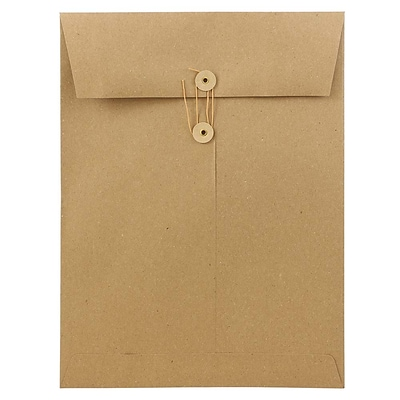 JAM Paper® 9 x 12 Open End Catalog Envelopes with Button and String Closure, Brown Kraft Paper Bag, 25/Pack (312611142)
