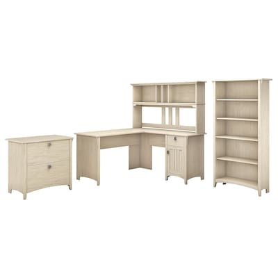 Bush Furniture Salinas 60w L Shaped Desk With Hutch Lateral File Cabinet And 5 Shelf Bookcase Antique White Sal007aw