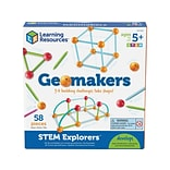 Learning Resources STEM Explorers Geomakers, Assorted Colors, 58 Pieces/Set (LER 9293)