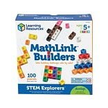 Learning Resources STEM Explorers MathLink Builders, Assorted Colors, 100 Pieces/Set (LER 9294)
