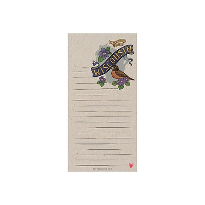 TF Publishing Wisconsin Memo Pad, 4 x 8, Multicolor, 26 Sheets/Pad, 1 Pad/Pack (99-WISCMP)