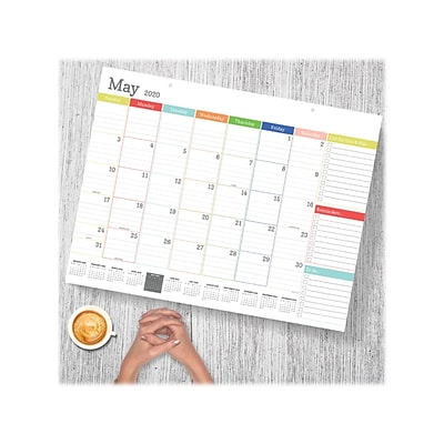 2020 TF Publishing 17 x 22 Desk or Wall Calendar, Rainbow Blocks Large, White (20-8018)