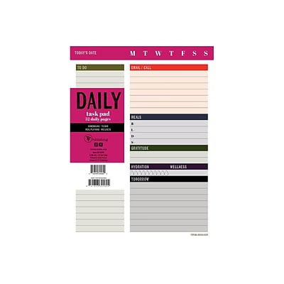 TF Publishing BOLD MOVES COLLECTION Task Pad, 6 x 8, Multicolor, 26 Sheets/Pad, 1 Pad/Pack (99-6999)