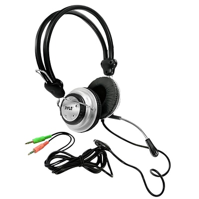 Pyle PHPMC2 Stereo Wired Multimedia Headset with Microphone Silver