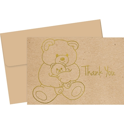 Great Papers! Teddy Bear Matte Personal Thank You Notecards, Kraft, 50/Pack (2019080)