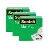 Scotch® Magic Tape, Invisible, Write On, Matte Finish, 1 x 72 yds., 3 Rolls (810-72-3PK)
