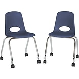Factory Direct Partners Mobile Plastic School Chair Set, Navy (10372-NV)