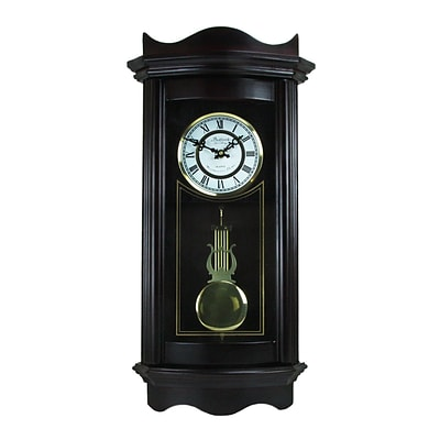 Bedford Clock Collection Weathered 25 Chocolate Cherry Wall Clock with Pendulum (BED1248CHK)