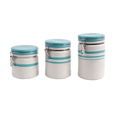 Gibson General Store Hollydale 3 Piece Canister Set in White and Teal Band (93597249M)