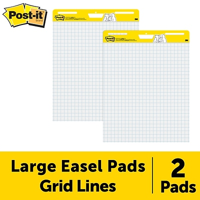 Post-it® Super Sticky Easel Pad, 25 x 30, White with Grid, 30 Sheets/Pad, 2 Pads/Pack (560)