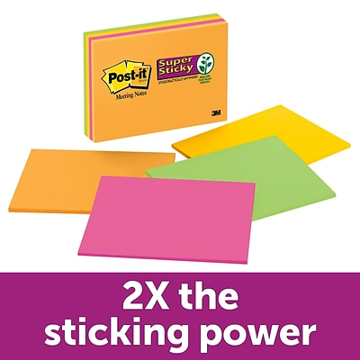Post-it® Super Sticky Meeting Notes, 8 x 6, Rio De Janeiro Collection, 4/Pads (6845-SSP)