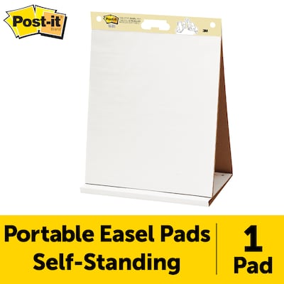 "Post-it® Super Sticky Tabletop Easel Pad, 20"" x 23"", Unruled, White, 20 Sheets/Pad (563R)"