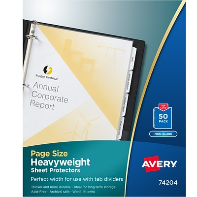 Avery Page Size Heavyweight Non-Glare Sheet Protectors, 8.5 x 11, Clear, 50/Box (74204)