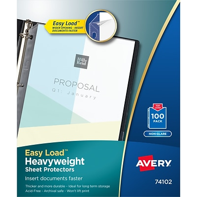 Avery Easy Load Heavyweight Non-Glare Sheet Protectors, 8.5 x 11, Clear, 100 Per Set (74102)