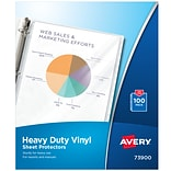 Avery Heavyweight Vinyl Sheet Protectors, 8.5 x  11, Clear, 100/Box (73900)