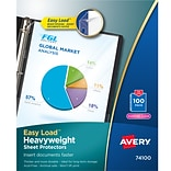 Avery Easy Load Heavyweight Sheet Protectors, 8.5 x 11, Diamond Clear, Acid-Free, 100/Box (74100)