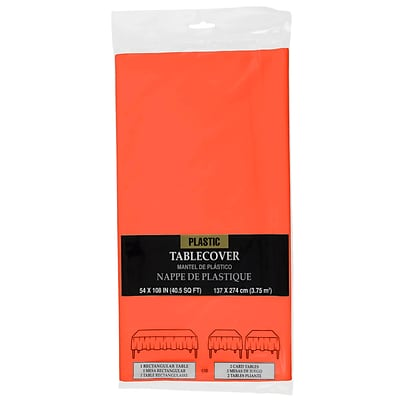 JAM Paper® Plastic Table Cover, 54 x 108 Inches, Orange Tablecloth, Sold Individually (291423358)