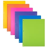 JAM Paper® Heavy Duty Plastic 3-Hole Punched 2 Pocket School Folders, Assorted Fashion Colors, 6/Pac