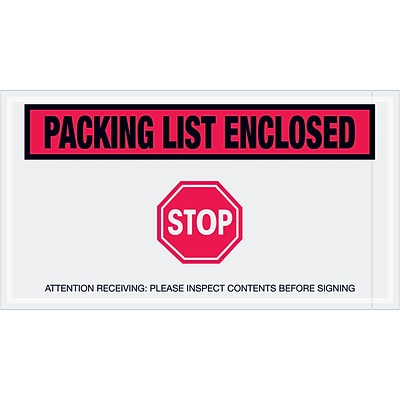 Tape Logic® Packing List Enclosed - Stop Envelopes, 5 1/2 x 10, Red, 1000/Case (PL492)
