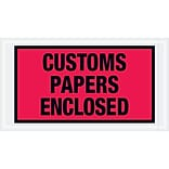 Tape Logic® Customs Papers Enclosed Envelopes, 5 1/2 x 10, Red, 1000/Case (PL447)