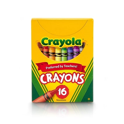 Crayola Non-Peggable Crayons, Assorted Colors, 16 Per Box (52-0016)