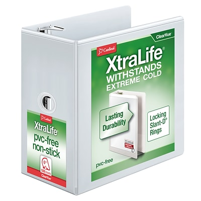 Cardinal® XtraLife®ClearVue™ 6 3-Ring View Binder, White (26360)