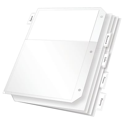 Cardinal Poly Binder Pockets, 3-Hole Punched, Clear, 5/Pack (52222)