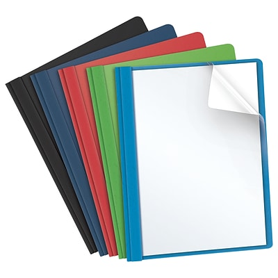 Oxford Clear Front Report Cover, Letter Size, Assorted Colors, 25/Box (OXF 55813)
