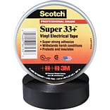 3M 33+ Electrical Tape, 7 Mil, 1 1/2 x 108, Black, 50/Case (T966033)