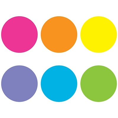 Teacher Created Resources Spot On Bright Circles Plastic Carpet Markers, Assorted Colors, 6/Pack (TCR77000)