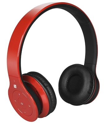 Alpha Digital BH 530 R Bluetooth Headphone with Soft Fit Ear Covers and Built In Microphone (Red)
