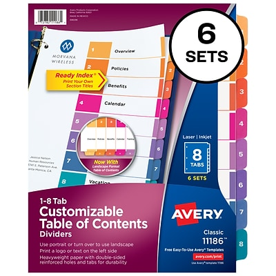 Avery Ready Index Customizable Table of Contents Numeric Paper Dividers, 8-Tab, Multicolor, 6 Sets (11186)