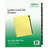 Avery Office Essentials Paper Monthly Dividers, 12-Tab, Black (11484)