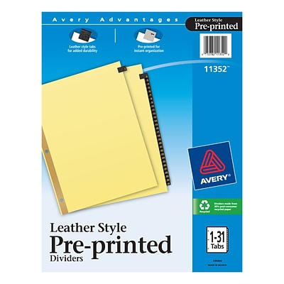 Avery Leather Style Pre-Printed Daily Tab Paper Dividers, 31 Tabs, Buff with Black Tabs (11352)