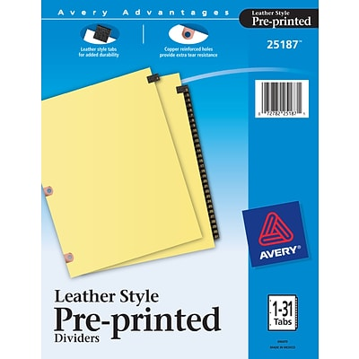 Avery Leather Style Paper Dividers, 31-Tab, Buff with Black Tabs (25187)