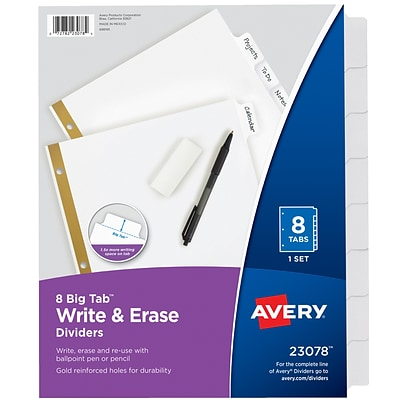 Avery Big Tab Write & Erase Dividers, 8-Tab, White (23078)