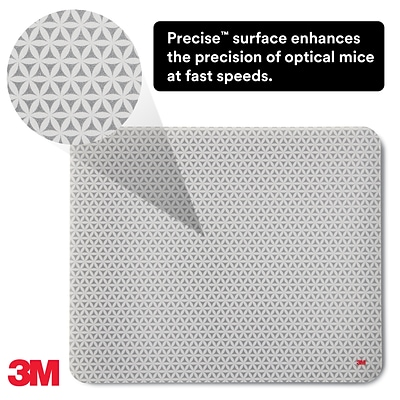 3M™ Precise™ Mouse Pad, Repositionable Adhesive Back, Optical Mouse Performance & Battery Saving Design, 8.5 x 7 (MP200PS)