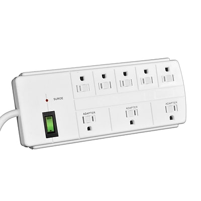 GoGreen Power 8 Outlet Surge Protector, 6 cord, White - GG-18316WH