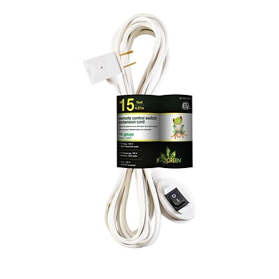 GoGreen Power Remote Control Switch Extension Cord, White (GG-24215WH)