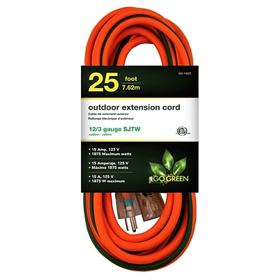 GoGreen Power 12/3 25 Heavy Duty Extension Cord, Lighted End, Orange (GG-14025)